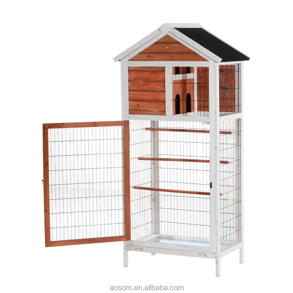 "Pawhut 64"" Vertical Outdoor Aviary Bird Cage - White/Dark Brown"