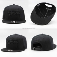 Black Acrylic/nylon/Cotton/Wool Custom Snapback 3D Embroidery customize snapback hats wholesale high quality snap back cap
