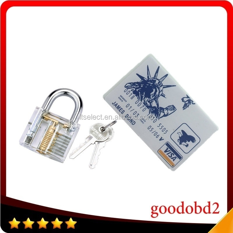 Credit Card Lock Pick Set James Bond Lock Opener Locksmith Tools + Padlocks Lock Crystal Cutaway of Practice Training Skill Pick