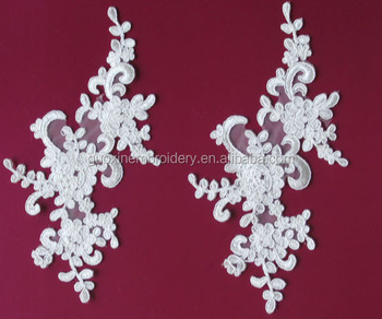 2014 embroidered lace flower/bridal lace flower/ pair lace