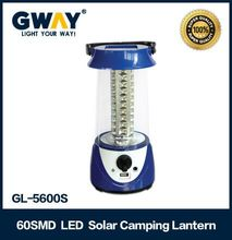 New design rechargeable 60 led solar power camping lights with USB mobile charger