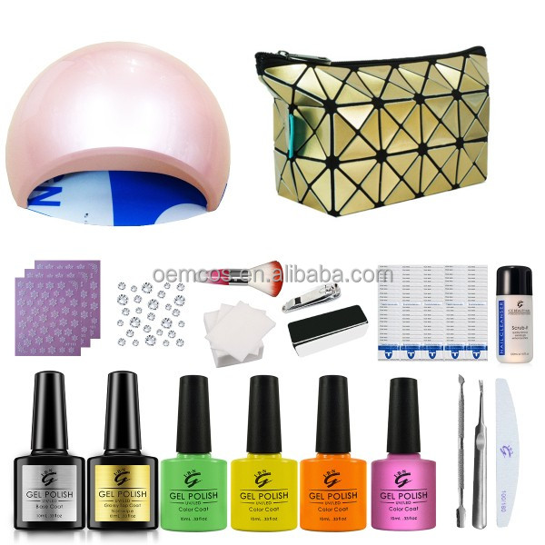 Low MOQ to customize nail art girls acrylic nail gel polish starter kit with lamp