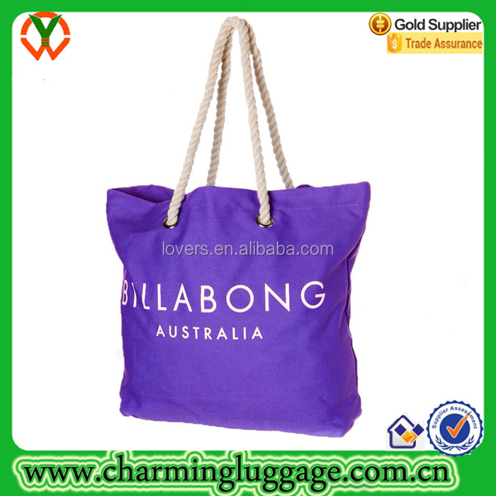 Oversized waterproof summer beach tote bag with Cotton Rope handle