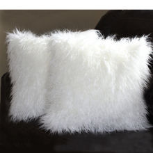Taidian brand living room Chair Faux Fur Mongolian White Pillow Cover
