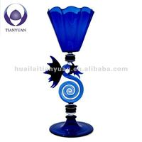 handblown borosilicate art blue glass goblet