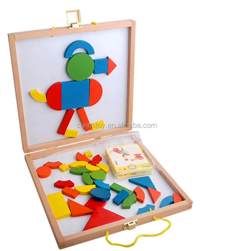 wholesale children creative drawing board toys colourful whiteboard wooden blocks puzzle design magic magnetic building block