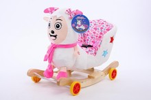 60*35*50cm Adorable ICTI and Sedex audited new design plush white sheep animal rocking chair toy with wooden base&music