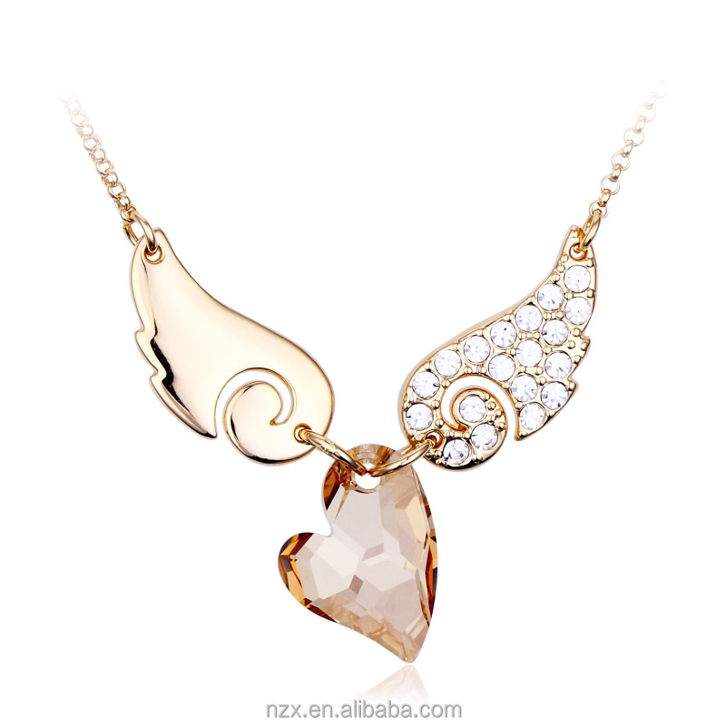 OUXI fashion crystal angel wing Zinc alloy rhodium plated jewelry necklace-10417