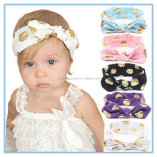 Top fancy gold polka dots rabbit ears kids large bow cotton baby headband