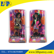 12.5 inch solid body vinyl black dark skin barbie doll with movable arms and legs
