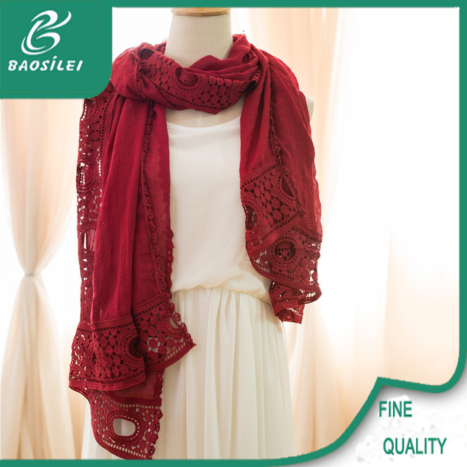 top quality fancy design muslim embroidery head pashmina scarf