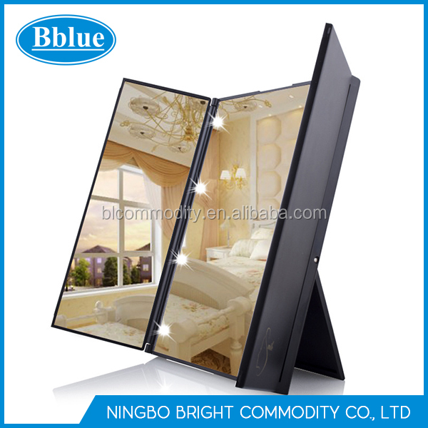 Portable Three Folding Table bright makeup mirror make up mirror with led light led mirror