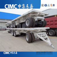 China Truck and Trailers 2 Axle 20FT 30Ton Flatbed Full Trailer