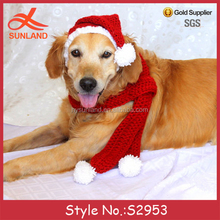 S2953 fashion Christmas gift pet accessories puffball scarf knit dog hats