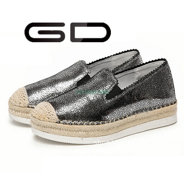 GD winter warm lady gray leather rope sole flat shoe