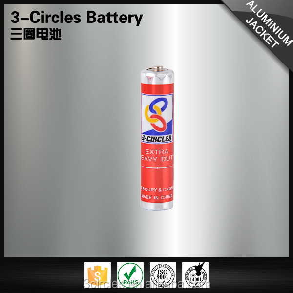 Durable zinc metal jacket stable R03 dry cell aaa 1.5v battery