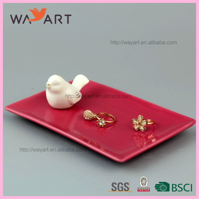 White Bird With Pink Ceramic Jewelry Tray