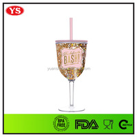promotion 12 ounce bpa free plastic tumbler wine glass with lid and straw