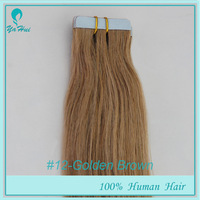 "Wholesale 6A 16""-20"" 40pcs 100g/pack Color #12 100% Human Hair Extensions Silky Straight Hair Weaving PU Skin Weft Tape in Hair"