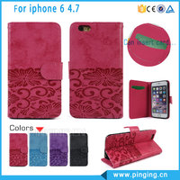 Online Wholesale Wallet Style Retro Embossing PU Leather Flip Cover Case For iPhone 6