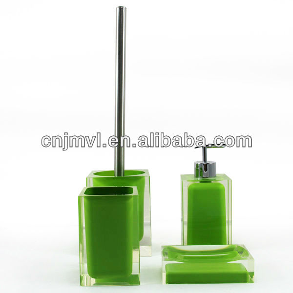 green color resin dailyart 4pcs bathroom accessory