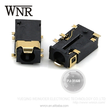 Factory sale phone bevel connection stereo 3.5mm audio jack, SMD headphone jack PJ-3160 none head
