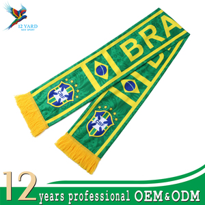 2018 factory price football competition gift polyester fleece BRAZIL national flag scarf