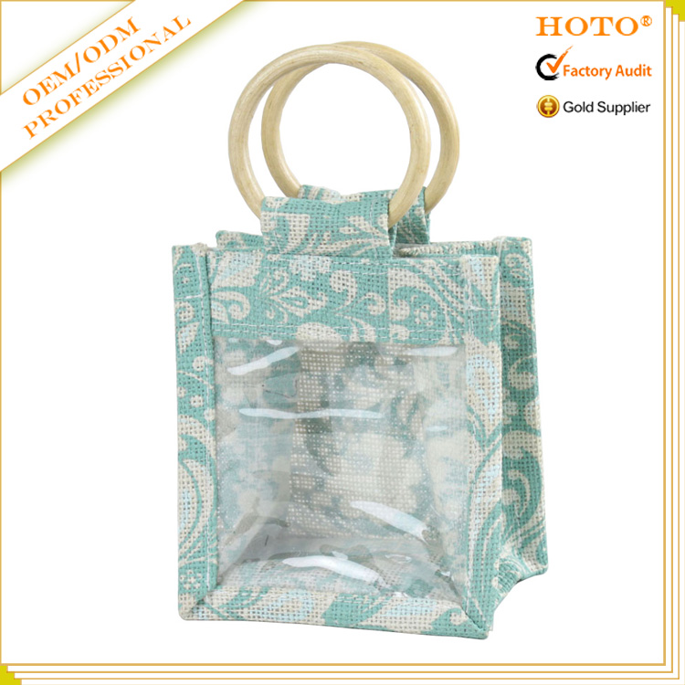 Custom print jute bag with PVC window mini jute bag china