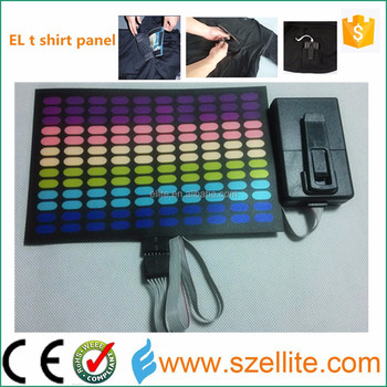 Hottest! New arrival wholesale sound activated flashing hook and loop el t shirt panel