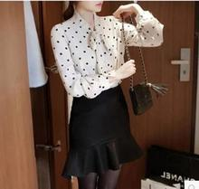 Korean style ladies new blouse fashion wave point print design summer chiffon shirt