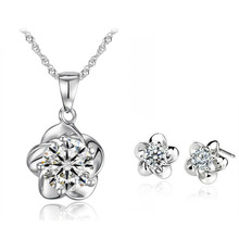 Custom AAA Zircon plated 18K gold jewelry sets high quality flower shape jewelry sets