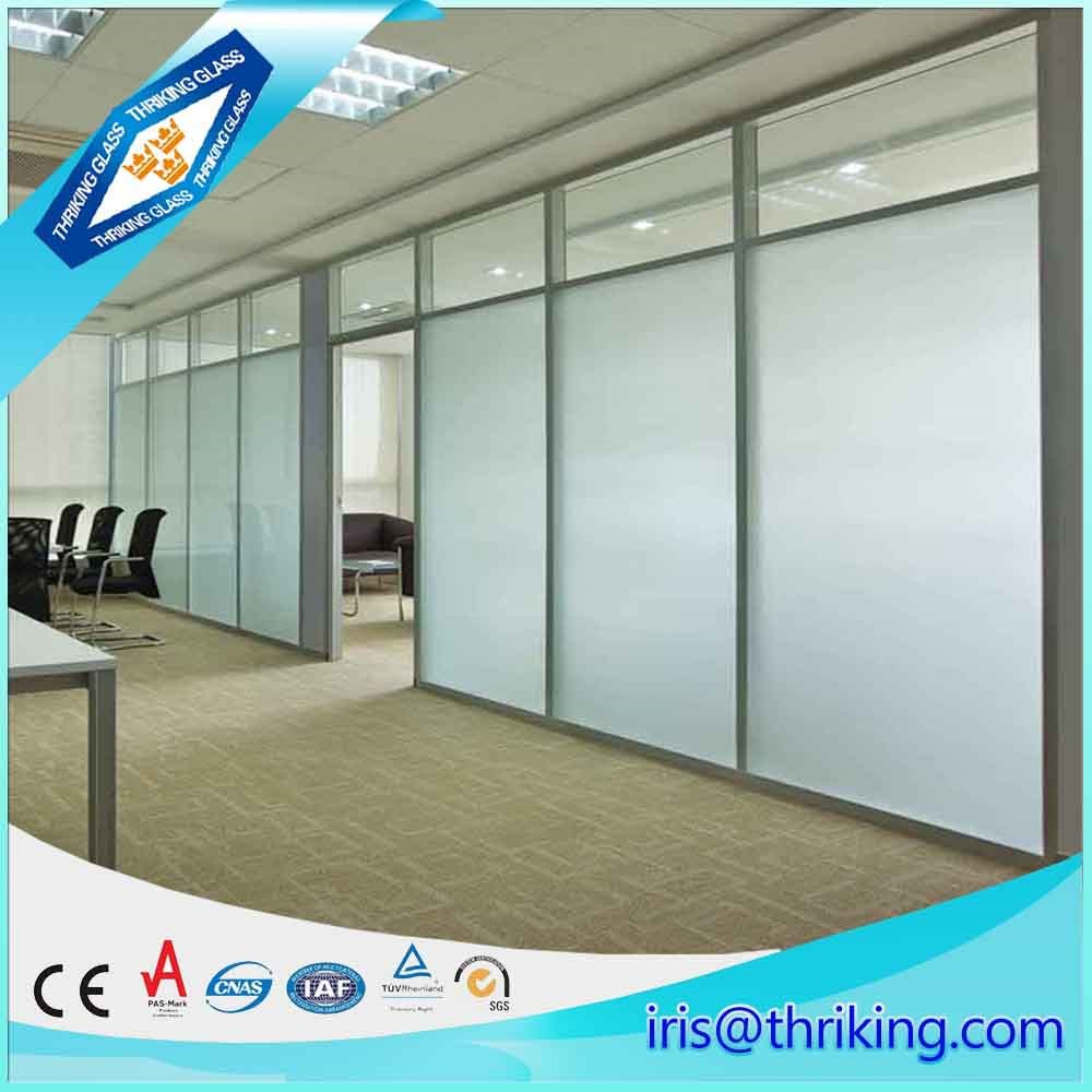 wholesales Frosted office partitions wall tempered glass price