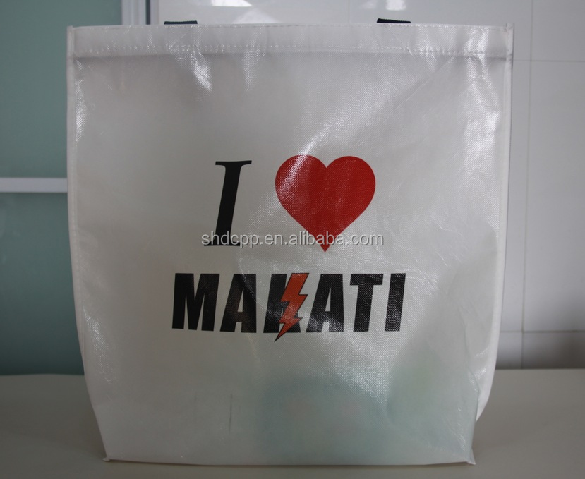 custom logo white glossy pp laminated non woven polypropylene tote bag