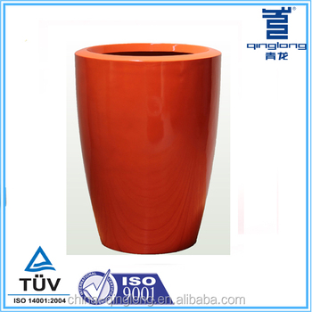 Tall red glossy finish flower pot painting designs
