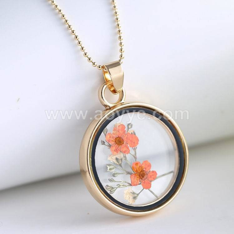 Manufacturer stock zinc alloy round framed locket glass pendant plants dried fower necklace