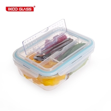 Hot glass food container with stainless steel fork spoon