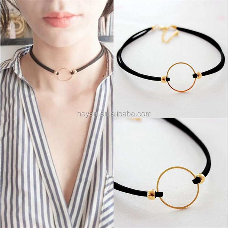 Black double layer suede leather choker