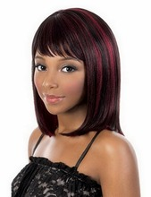 12inch Heat Resistant Synthetic Medium Bob Wigs For Women Natural Straight Black Red Highlights