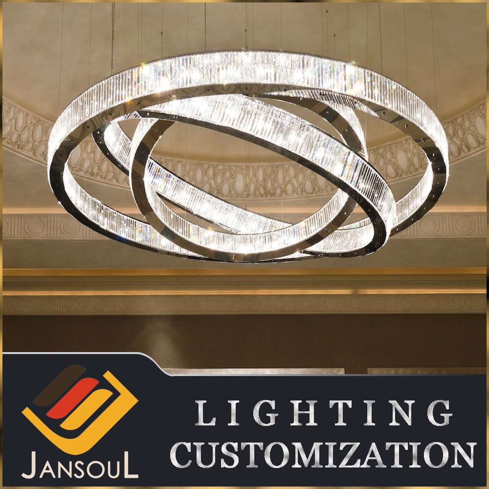 CE/UL standard led modern round circle pendant crystal chandelier