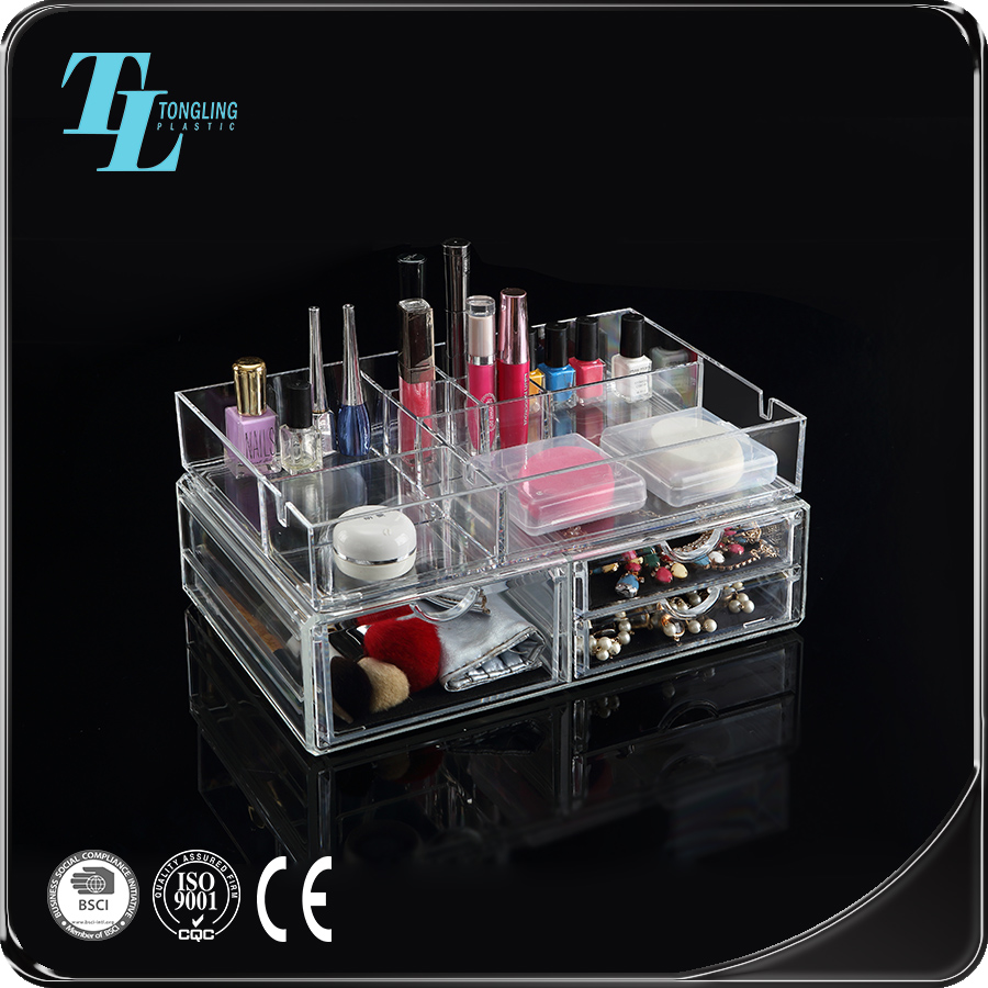 Top manufacturer make up beauty acrylic organizer with drawers