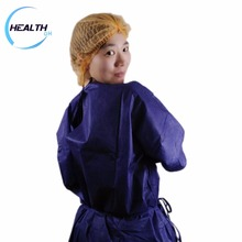 Protective hospital patient gowns pe gown round neck