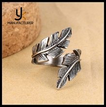 Mens Cuff Feather Shaped Casting Stainless Steel Adjustable Rings Wholesale