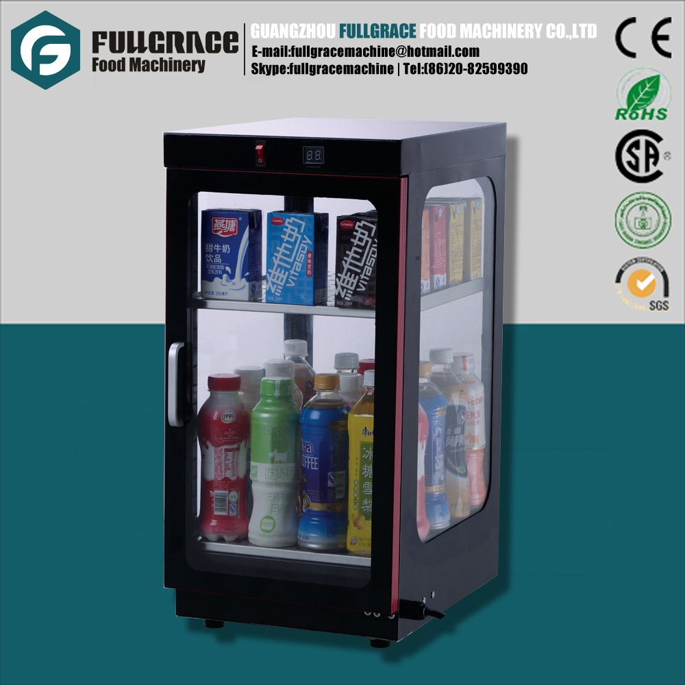 hot sale compact size electric glass display beverage warmer/ beverage warming cabinet