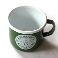 150G High Quality custom Printed outside green Enamel Camping Mugs