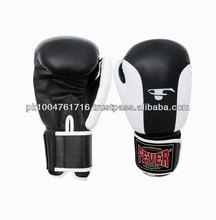 Black White Cowhide Leather Boxing Gloves