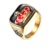 Wholesale Vintage Titanium Steel Gold Plated Red Crown Ring and Drip Oil