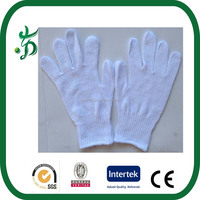 White outdoors cotton knitted working gloves cheap work glove medical glove