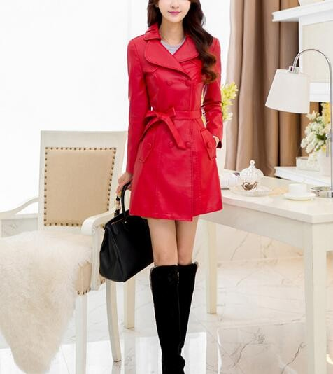 Women's PU Leather Slim Fit Long Coat Maxi Jacket with Fur Lining