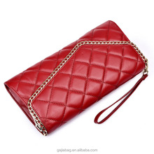 2017 china custom-made luxury chain sling embroidered diamond pattern genuine lambskin leather purse zippered wallet for women