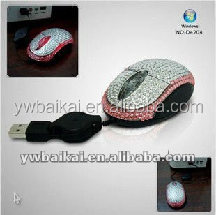 decorative car shape rhinestone wired computer mouse